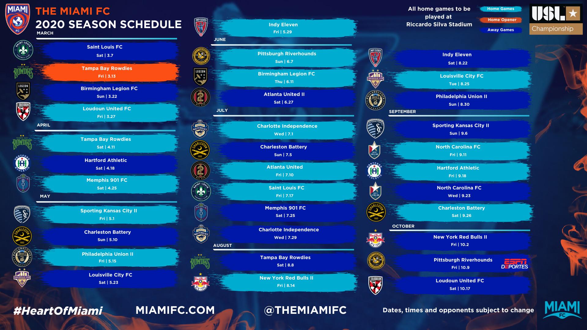 Miami FC 2020 USL Schedule
