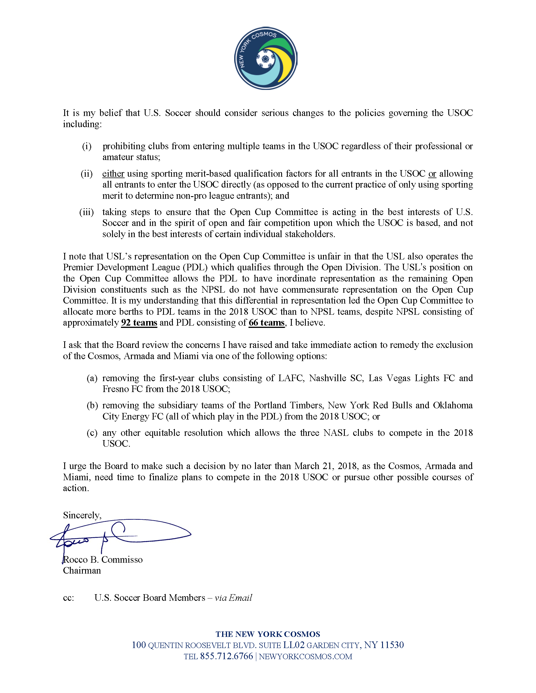 Ny Cosmos Open Cup Letter To The US Soccer Board  New York Cosmos