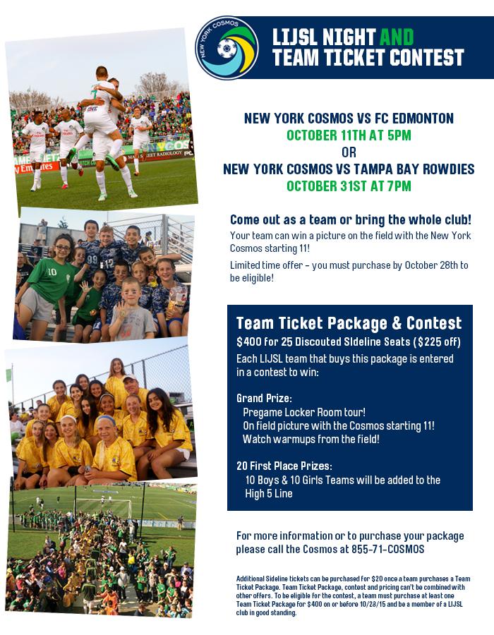 LIJSL Night & Team Ticket Contest   New York Cosmos